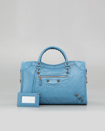 Blue Balenciaga bag.