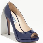 Patent leather blue Prada peep-toe.