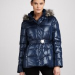 Shiny dark blue DKNY coat.