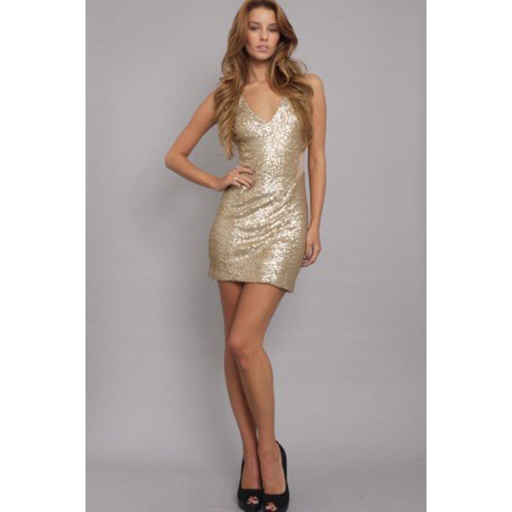 Gold Sequin Short Dress